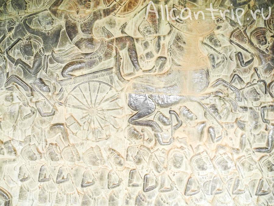 Изображения на стенах храма Ангкор Ват