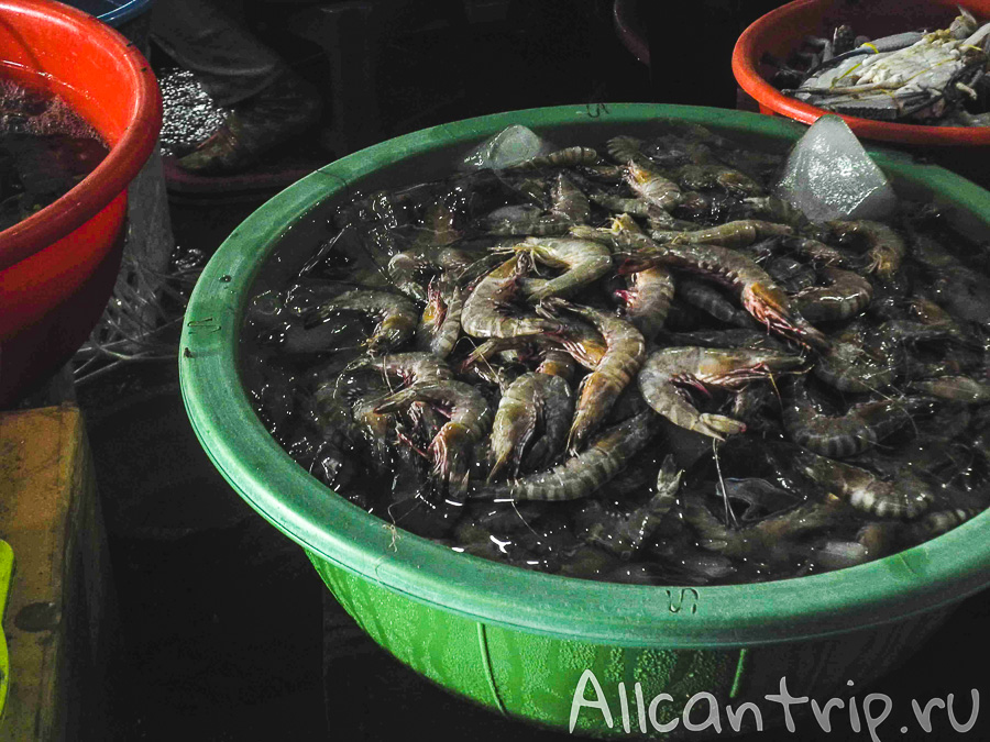 Креветки на рынке Phsar Leu в Сиануквиле