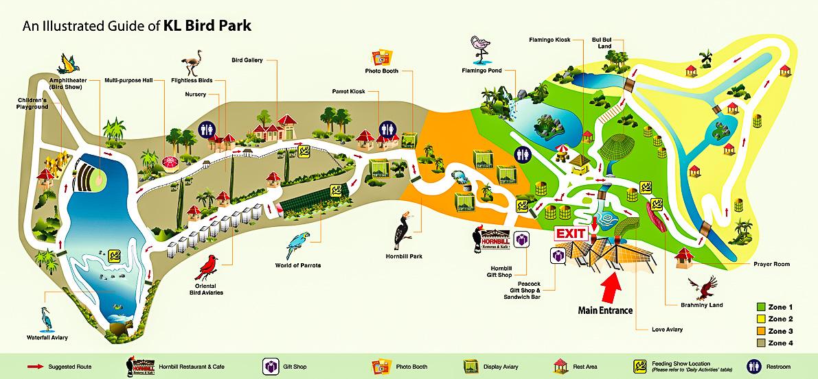 Карта парка птиц в Куала-лумпур