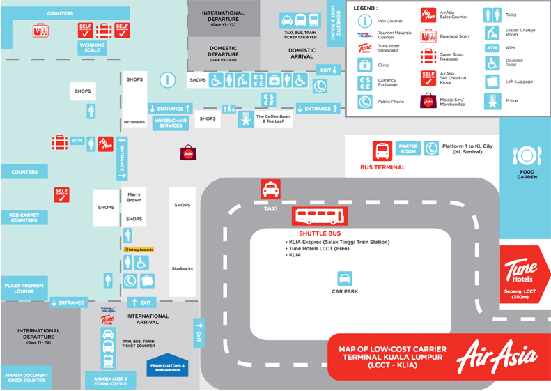 Схема аэропорта Куала-Лумпур