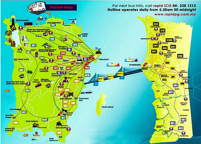 Схема автобусных маршрутов в Пенанге