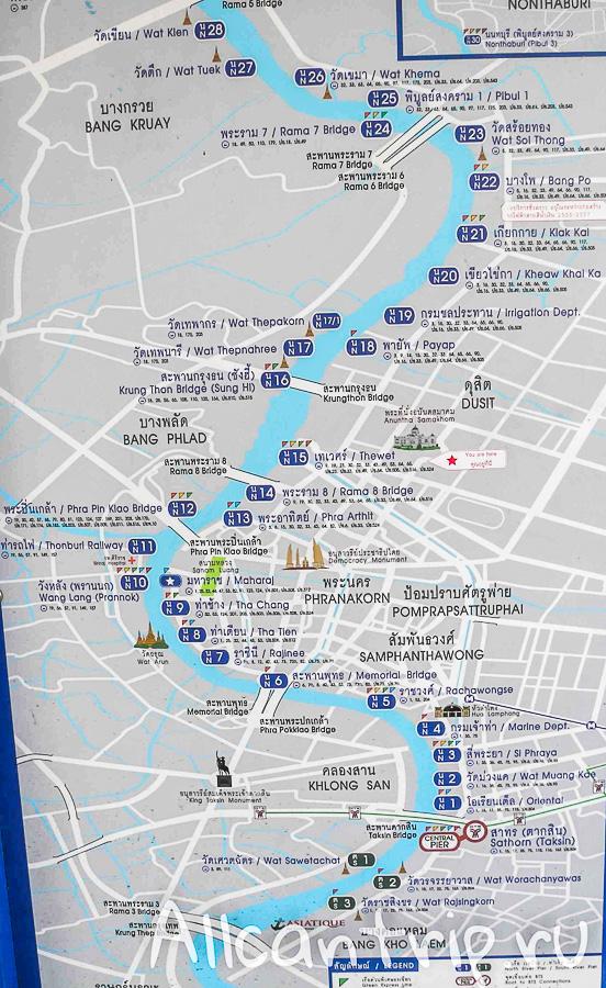Карта маршрутов и остановок по Чао Прайе в Бангкоке