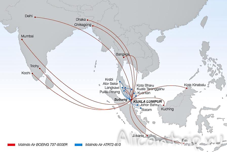 Карта полетов Malindo Air