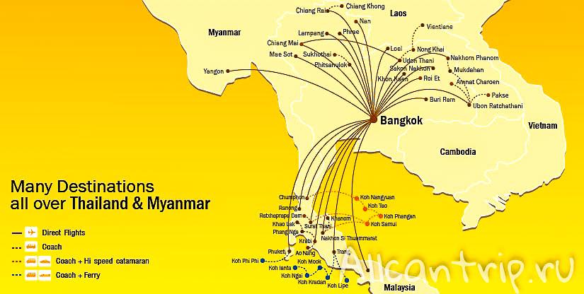 Карта полетов Nok Air