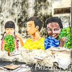 Уличные рисунки в Ипохе (Малайзия)