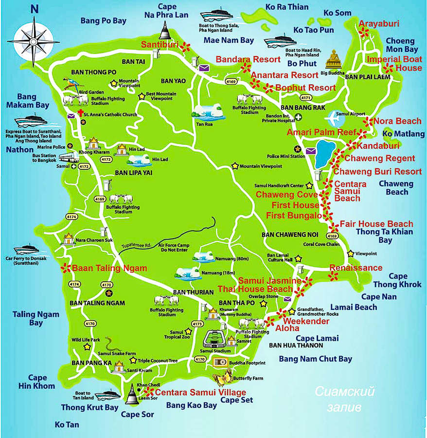 Карта Самуи с пляжами