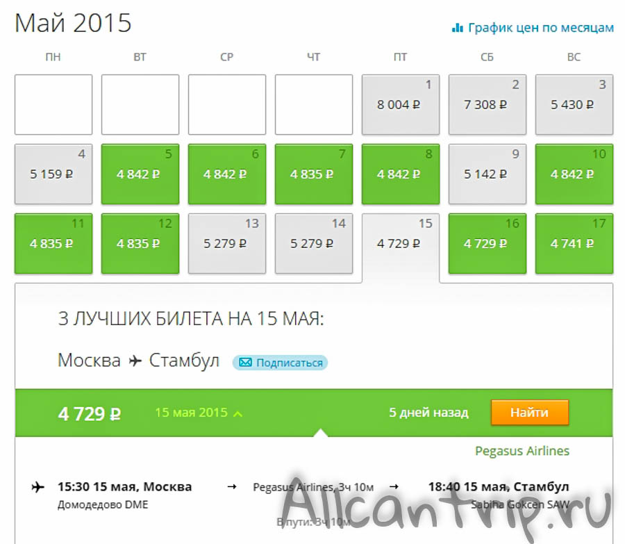 Календарь низких цен в стамбул