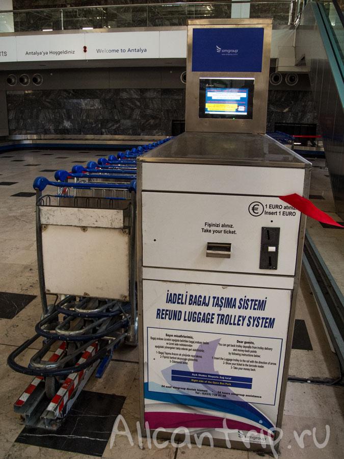 Платные тележки для багажа в аэропорту анталии