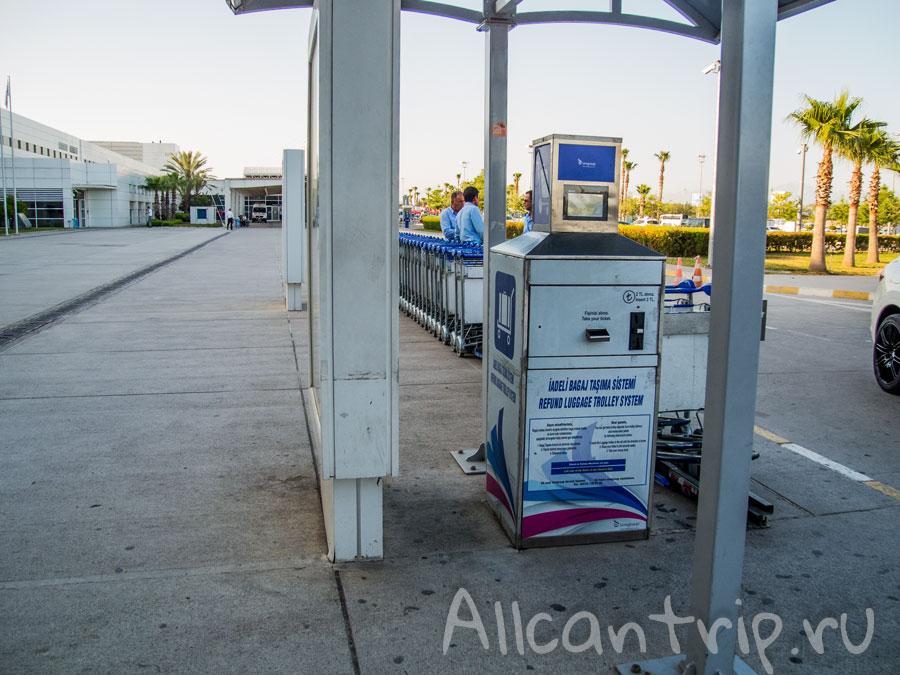 сдача багажных тележек в аэропорту анталии