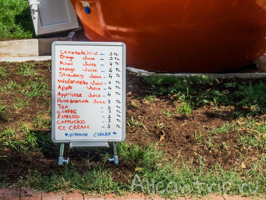 цены в кафе алании