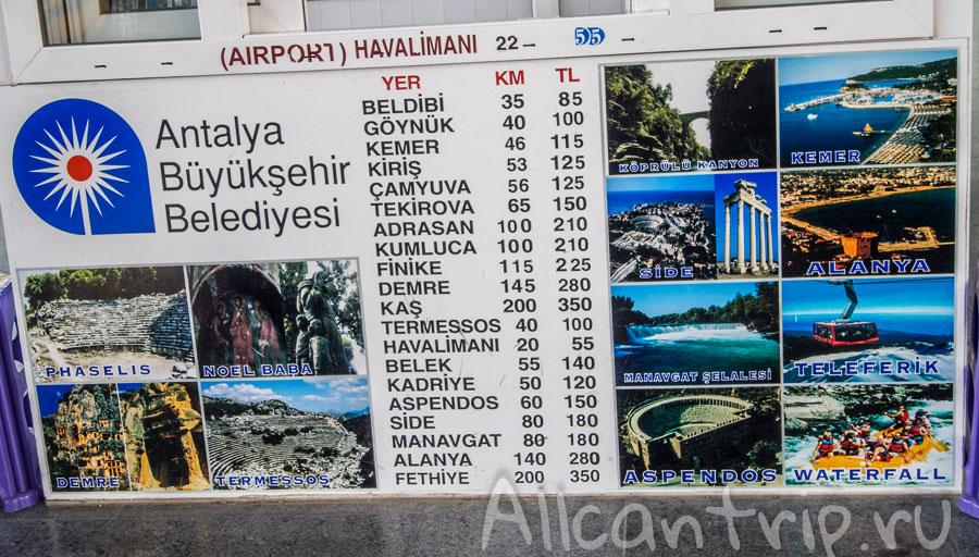 цены на такси от автовокзала Анталии