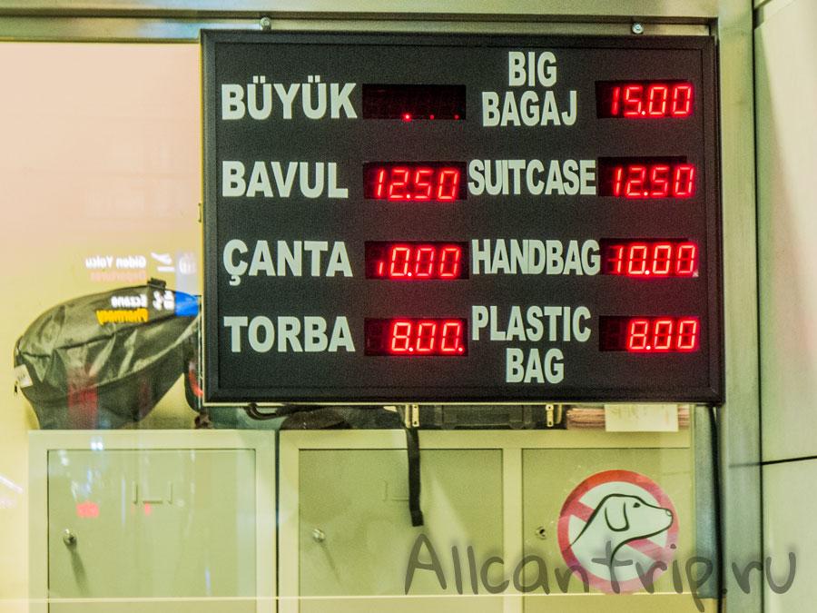 стоимость камеры хранения в аэропорту Сабихи Гекчен