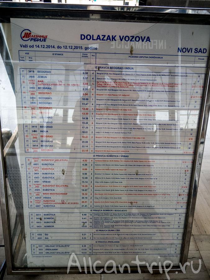 жд вокзал нови сад расписание